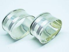 Pair Solid Silver Napkin Rings Sterling Serviette by DartSilverLtd