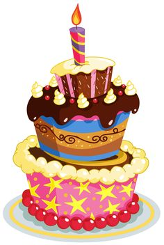 Colorful Birthday Cake PNG Clipart Illustration Vector
