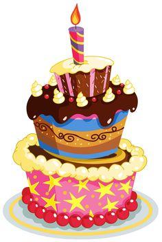 Birthday Cake Illustration Clipart Vector Art Colorful