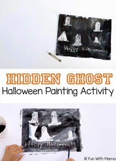Looking for halloween crafts or halloween painting ideas for your toddler or preschooler? The Hidden Ghost Halloween painting activity is exciting. This Halloween Painting Idea is an unusual twist to the much loved crayon resist art activity. You could add this to your Halloween party ideas or monster themed birthday.