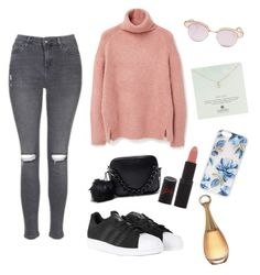 """"""""""" by gizzx ❤ liked on Polyvore featuring Topshop, MANGO, adidas, Rimmel, Le Specs, Dogeared, Sonix and Christian Dior"""