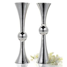 "Clarion Vase - 35.4""H - Silver 