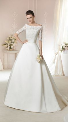 99bf254dad558 New Half Sleeves Boat Neck Covered Button Lace A Line Wedding Dress Size 8  10 12