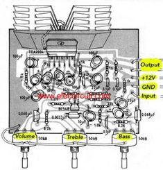 icu ~ - subwoofer Bridge Amplifier circuit diagram ~ Build / amplifier circuit diagram for your room. On ouput power on BCL Car Audio amplifier. Electronics Projects, Hobby Electronics, Dc Circuit, Circuit Diagram, Car Audio Amplifier, Audio Speakers, Diy Subwoofer, Bass, Power Supply Circuit
