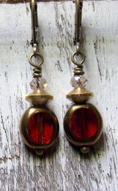 Red Earrings Simple Dangle Czech Glass by NickiLynnJewelry on Etsy