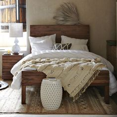 bed fantasy... Linen white sheets, Moroccan wedding blanket and a pop of color with throw pillows