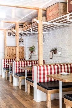 restaurant seating Interiors of Red Farm restaurant designed by Crme Farmhouse Restaurant, Restaurant Booth, Restaurant Seating, Restaurant Tables And Chairs, Restaurant Concept, Restaurant Ideas, Pallet Seating, Booth Seating, Seating Plans
