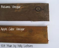 how to stain wood with balsamic vinegar, painted furniture, woodworking projects, Here is a sample showing the difference between the two vinegar stains The top is the Balsamic Vinegar and the bottom is the Apple Cider Vinegar