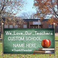 VictoryStore Yard Sign Outdoor Lawn Decorations: Custom Teacher Appreciation Banner- We Love Our Teachers Vinyl Banner