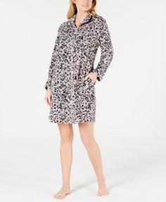 dd5bf9d471 Miss Elaine Petite Printed Fleece Short Zip-Up Robe - Gray PS