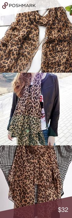 Various colours Designer Inspired Large Leopard print with stripe Scarf