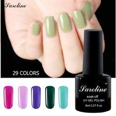 Saroline 29colors Naked Color Long Lasting Gel Polish Beauty Nails Art Manicure Tools Soak-Off UV Gel Nail Foil Adhesive