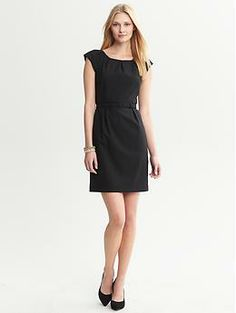 Black Lightweight Wool Belted Sheath: Banana Republic; for the wedding??