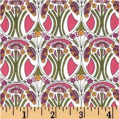 Liberty Of London Tana Lawn Mauverina Fuchisia/Olive from fabric.com