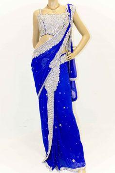 Buy Royal Blue and Silver Designer Butterfly Party Saree, Party Saree, Bridal Saree Uk Fashion, Indian Fashion, Party Sarees, Butterfly Party, Work Sarees, Sherwani, Prom Dresses, Formal Dresses, Churidar