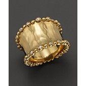 Michael Aram 18K Yellow Gold Molten Wide Cuff Ring with Diamonds