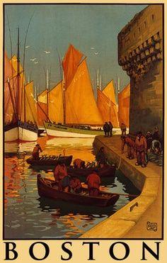 Vintage Travel Poster - Boston - Bretagne  -  Il s'agit d'une affiche de Concarneau, Finistère, Bretagne, France  et non de Boston, Massachusetts, USA !