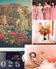 The Amalfi Coast of Italy and bright blossoms are awe inspiring in this wedding inspiration board.