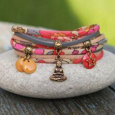 "Bracelet cordon liberty "" india "" _ grenadine, bleu gris, jaune, beige _ breloque bouddha et sequin"