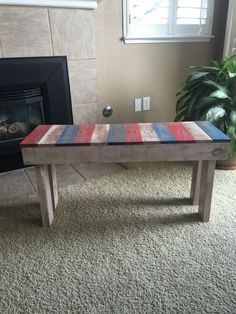 Lil Red, White & Blue Pallet Bench Benches & Chairs