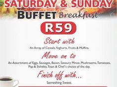 Mikes Kitchen Lambton - Saturday & Sunday Buffet Breakfast - R59 Sunday Buffet, Savoury Mince, Chef's Choice, Breakfast Buffet, Saturday Sunday, Something Sweet, Bacon, Fruit, Kitchen