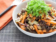 Warm sweet potato salad with beluga lentils & cider vinaigrette [Recipe] | HellaWella