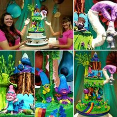 DreamWorks Trolls themed cake inspired by our appearance and final round cake on Cake Wars. I made the characters Smidge, Biggie, Mr Dinkles, Creek and Branch #cravingscupcakery #cakewars