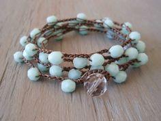 Sky blue crochet boho wrap necklace bracelet, long bohemian jewelry, baby blue, Shabby chic, surfer girl boho, on SALE. $42.00, via Etsy.