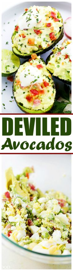 Deviled Avocados - For a twist on traditional deviled eggs, these avocados are filled with a mixture of eggs, bacon, feta cheese, green onions, avocados, and a cool delicious helping of yogurt that brings it all together.