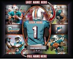 Miami Dolphins NFL Football - Personalized Action Collage Print / Picture. Have you or someone you know ever dreamed about playing next to your favorite Miami Dolphins players. You or someone you know can be right there in the locker room with Miami Dolphins players! Optional framing with mat is available. Perfect for gifts, rec room, man cave, office, child's room, etc. ( www.oakhousesportsprints.com )