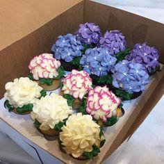 #hydrangea cupcakes #Society Bakery Dallas,TX. Little works of art!