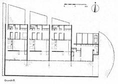 Planta tipo casas patio en el barrio de Hansaviertel, por Arne Jacobsen, 1955-1957, Berlín, Alemania