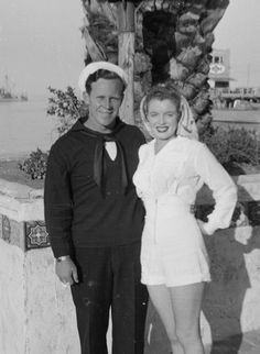 Marilynwith first husband  James Dougherty on Catalina  Island; 1943