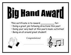 Big Hand Award: reward system for the elementary music classroom