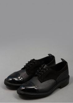 Derby Brogues - Black - Shoes from Triads UK Pebbled Leather, Patent Leather, Mens Fashion Casual Wear, Brogues, Wardrobe Staples, Black Shoes, Derby, Oxford Shoes, Dress Shoes