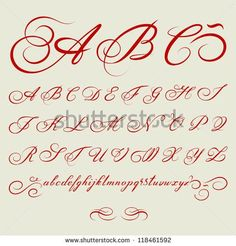 vector hand drawn calligraphic Alphabet based on calligraphy masters of the 18th…