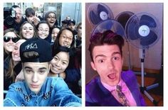 rare photo of justin bieber and drake bell posing with their fans
