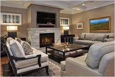 family room designs with fireplace and tv   Fireplace Surrounds with TV Above