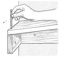 illustration showing a hand using a pencil to scribe the shelf to cut and fit it to the irregular wall