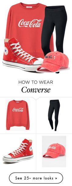 """CocaCola"" by qveentricee on Polyvore featuring MANGO, NIKE, Converse, American Needle and basic"