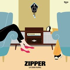 "ZIPPER ""La Casa Rural"" Single 7"", October 2013, Limited Numbered edition, 333 Copies, Orange Color Vinyl. Arwork by María Barrero #ElefantRecords #Vinyls #Indie #Pop"