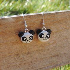 Boucles d'oreilles panda kawaii (fimo) petite tête de panda noir et blanc mignon