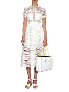Panelled lace midi dress | Self-portrait | MATCHESFASHION.COM US