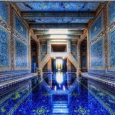 Feeling blue ! My favorite indoor pool at Hearst Castle , which I toured on my British tv show , is an amazing melange of mosaics and gilded iron work. The sapphire hue is so seductive. #designanddecoration
