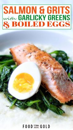 A savory meal that is great for both breakfast and dinner, this Salmon and Grits with Garlicky Greens & Boiled Eggs recipe is extremely versatile. Today's Salmon and Grits with Garlicky Greens & Boiled Eggs recipe continues our month of egg focused dishes. I'm trying to do an even split of breakfast and dinner recipes for you, and this one is both! I don't know which part of this recipe I love the most. | @foodabovegold #summersalmonrecipes #howtomakegrits #southernrecipes Egg Recipes, Fish Recipes, Brunch Recipes, Dinner Recipes, Healthy Recipes, Dinner Ideas, Cooking Bacon, Fun Cooking, Cooking Tips