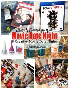 "18 Movie Date Nights already planned for you!  Creative ideas to spice up the good 'ole ""dinner & a movie.""  #movies #datenight www.thedatingdivas.com"