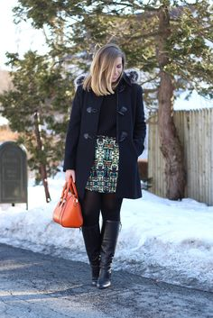 Printed Green Skirt   Winter Outfit   #LivingAfterMidnite