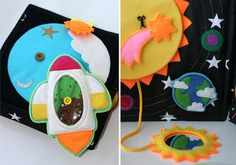 Details This soft Space Book is designed by proffesional artist together with tailors and children. We invite the reader to visit the world of stars and planets. You can play a small theater with funny puppet characters (aliens and astronauts) dressed on the fingers. The book is designed for