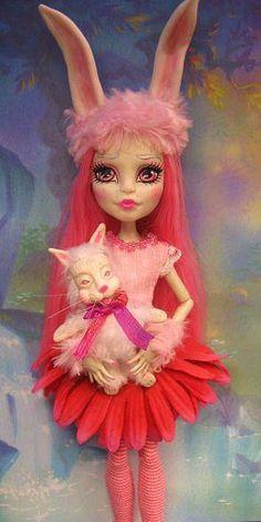 OOAK Fairy Pose Able Artist Doll Bunny Girl Monster High Custom Repaint Rabbit | eBay