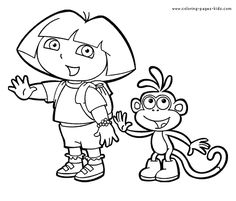 Dora and Boots Dora the Explorer color page, cartoon characters coloring pages, color plate, coloring sheet,printable coloring picture